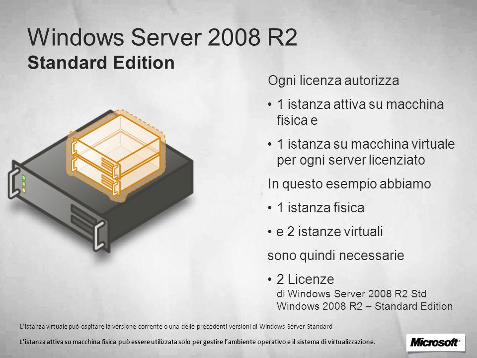 Windows Server 2008 R2 Standard Edition Ogni licenza autorizza 1 istanza attiva su macchina fisica e 1 istanza su macchina virtuale per ogni server li