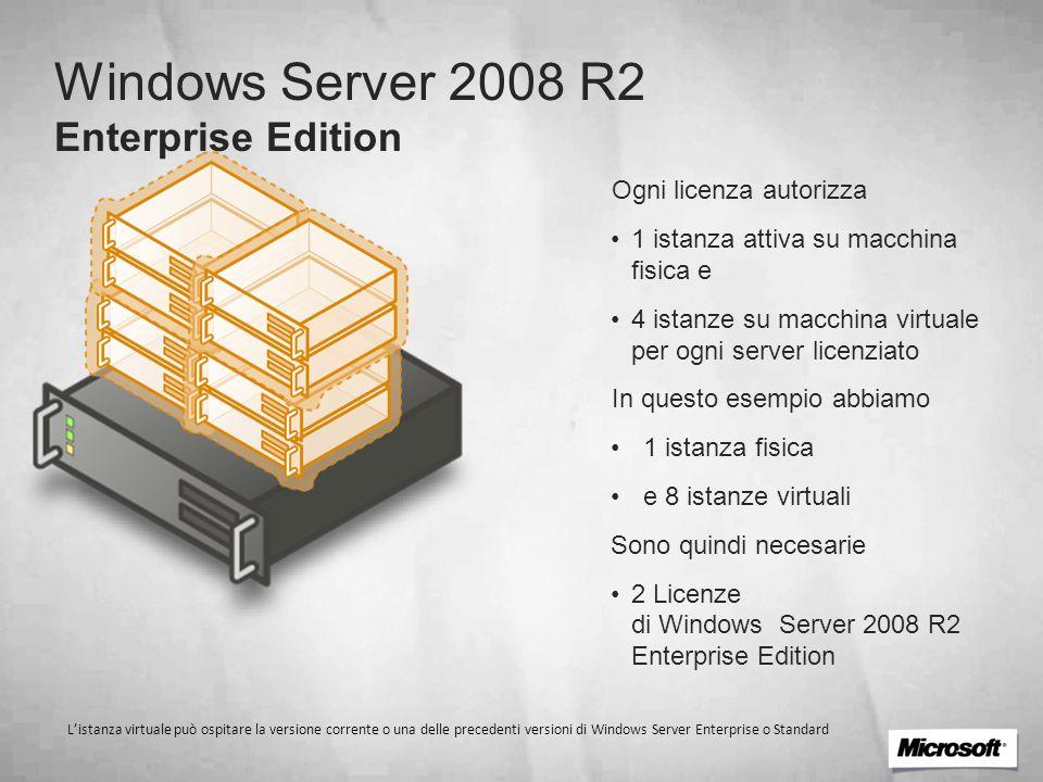 Windows Server 2008 R2 Enterprise Edition Ogni licenza autorizza 1 istanza attiva su macchina fisica e 4 istanze su macchina virtuale per ogni server