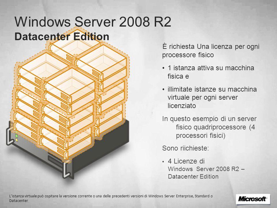 Windows Server 2008 R2 Datacenter Edition È richiesta Una licenza per ogni processore fisico 1 istanza attiva su macchina fisica e illimitate istanze