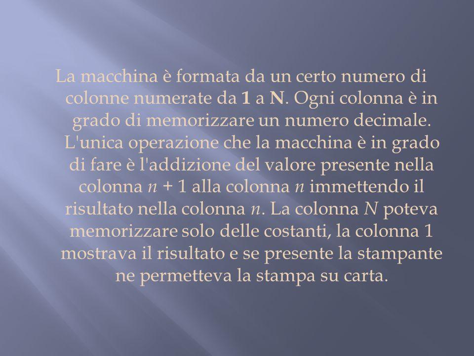 La macchina è formata da un certo numero di colonne numerate da 1 a N. Ogni colonna è in grado di memorizzare un numero decimale. L'unica operazione c