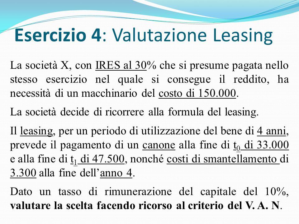 Esercizio 4: Valutazione Leasing La società X, con IRES al 30% che si presume pagata nello stesso esercizio nel quale si consegue il reddito, ha necessità di un macchinario del costo di 150.000.