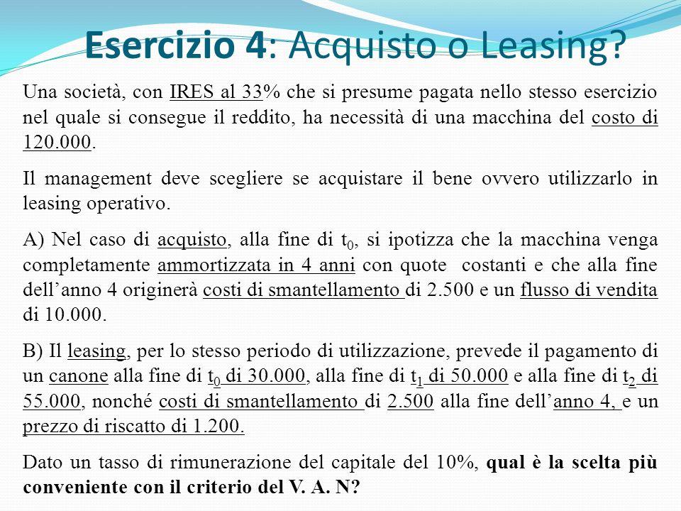 Esercizio 4: Acquisto o Leasing.