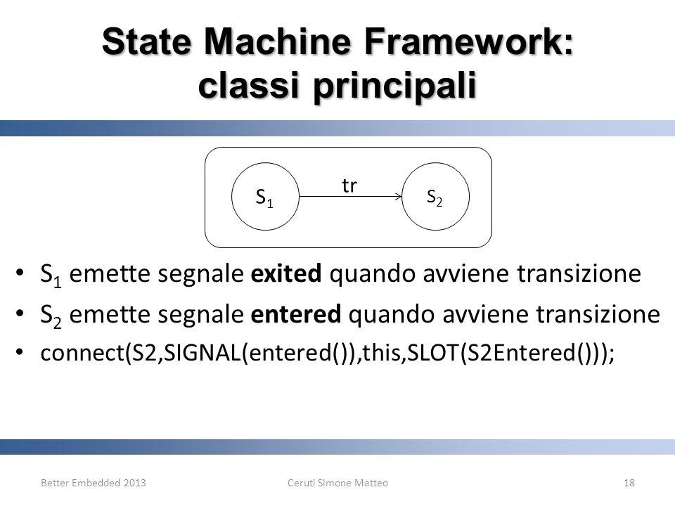 State Machine Framework: classi principali S 1 emette segnale exited quando avviene transizione S 2 emette segnale entered quando avviene transizione