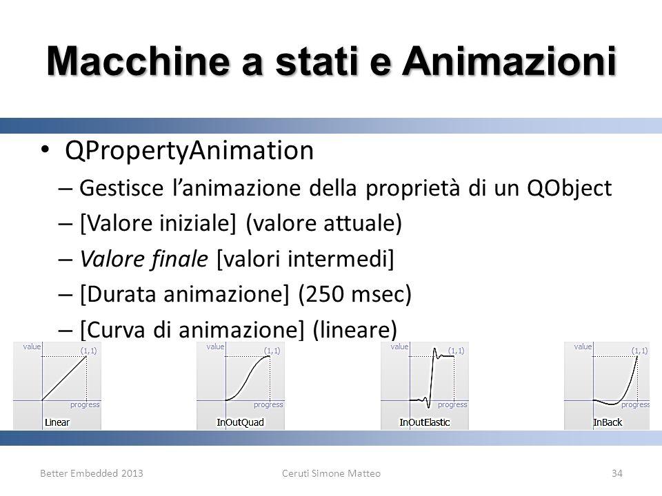 Better Embedded 2013Ceruti Simone Matteo34 Macchine a stati e Animazioni QPropertyAnimation – Gestisce lanimazione della proprietà di un QObject – [Va