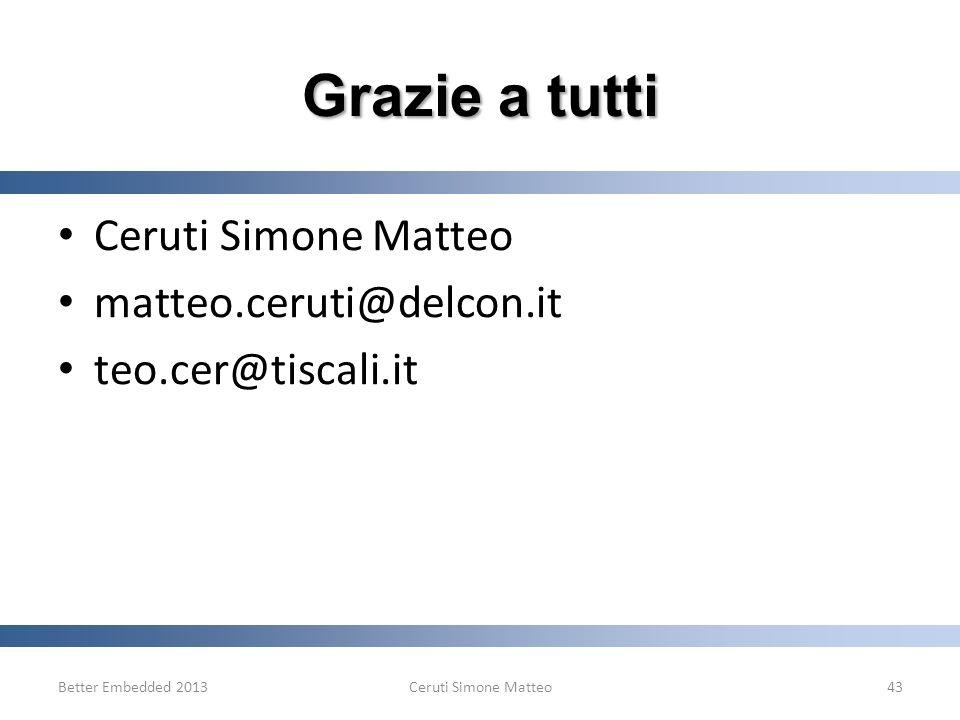Ceruti Simone Matteo matteo.ceruti@delcon.it teo.cer@tiscali.it Better Embedded 2013Ceruti Simone Matteo43 Grazie a tutti