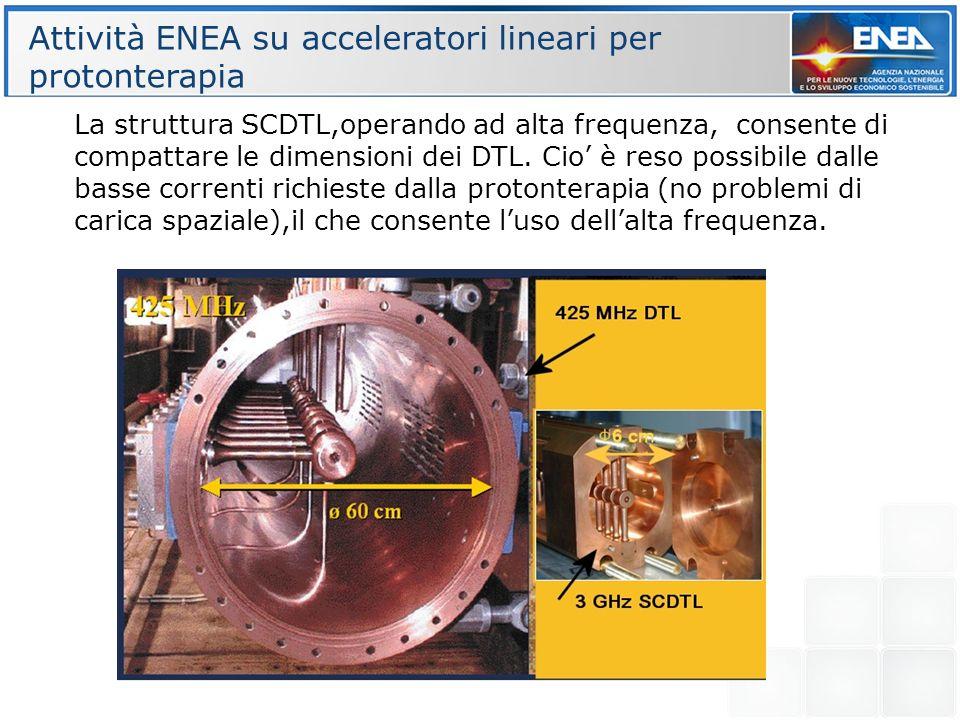 La struttura SCDTL,operando ad alta frequenza, consente di compattare le dimensioni dei DTL. Cio è reso possibile dalle basse correnti richieste dalla