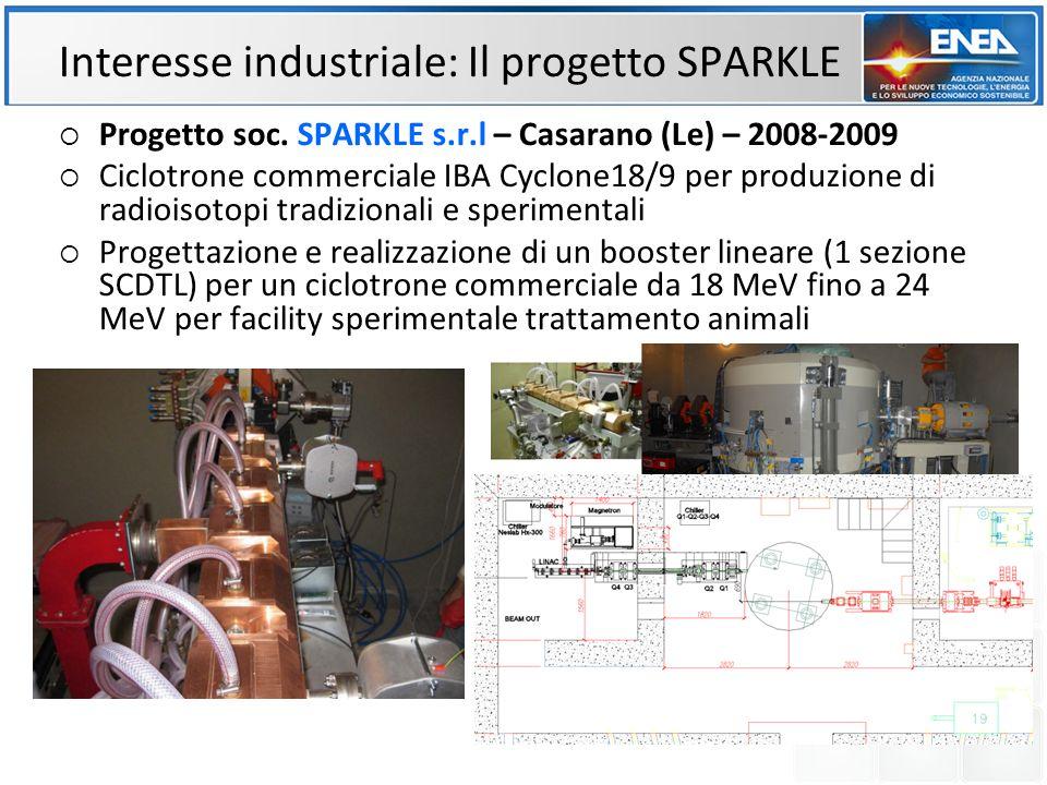Interesse industriale: Il progetto SPARKLE Progetto soc. SPARKLE s.r.l – Casarano (Le) – 2008-2009 Ciclotrone commerciale IBA Cyclone18/9 per produzio