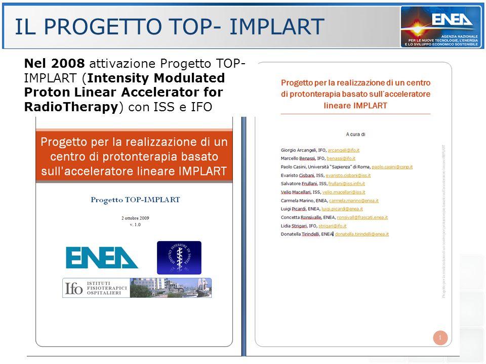 Nel 2008 attivazione Progetto TOP- IMPLART (Intensity Modulated Proton Linear Accelerator for RadioTherapy) con ISS e IFO IL PROGETTO TOP- IMPLART