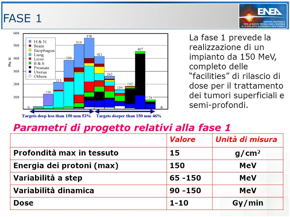 Parametri di progetto relativi alla fase 1 ValoreUnità di misura Profondità max in tessuto15g/cm 2 Energia dei protoni (max)150MeV Variabilità a step6