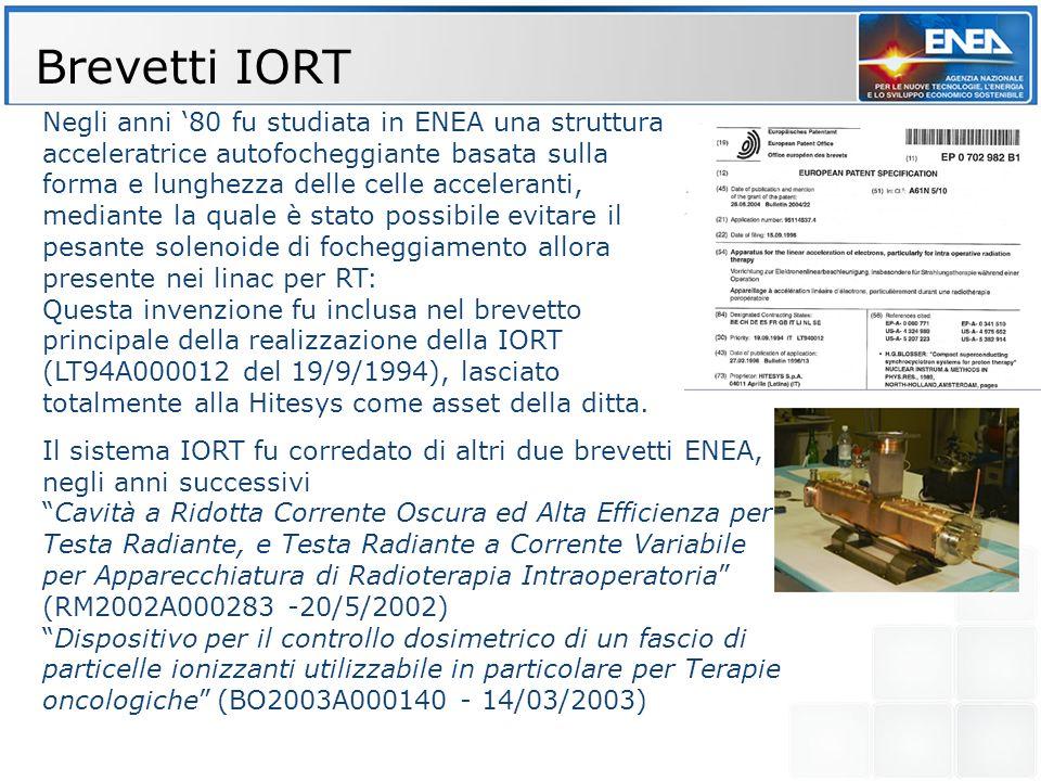 Brevetti IORT Negli anni 80 fu studiata in ENEA una struttura acceleratrice autofocheggiante basata sulla forma e lunghezza delle celle acceleranti, m