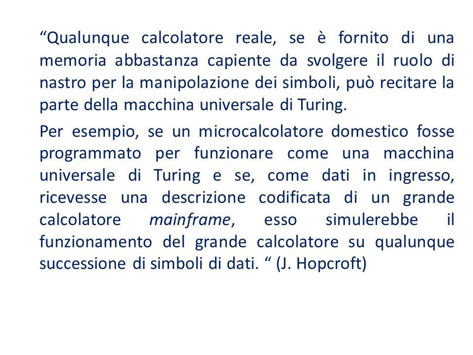 Qualunque calcolatore reale, se è fornito di una memoria abbastanza capiente da svolgere il ruolo di nastro per la manipolazione dei simboli, può reci