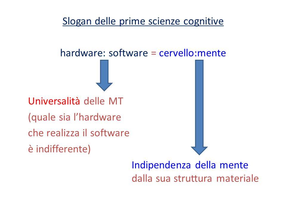 Slogan delle prime scienze cognitive hardware: software = cervello:mente Universalità delle MT (quale sia lhardware che realizza il software è indiffe