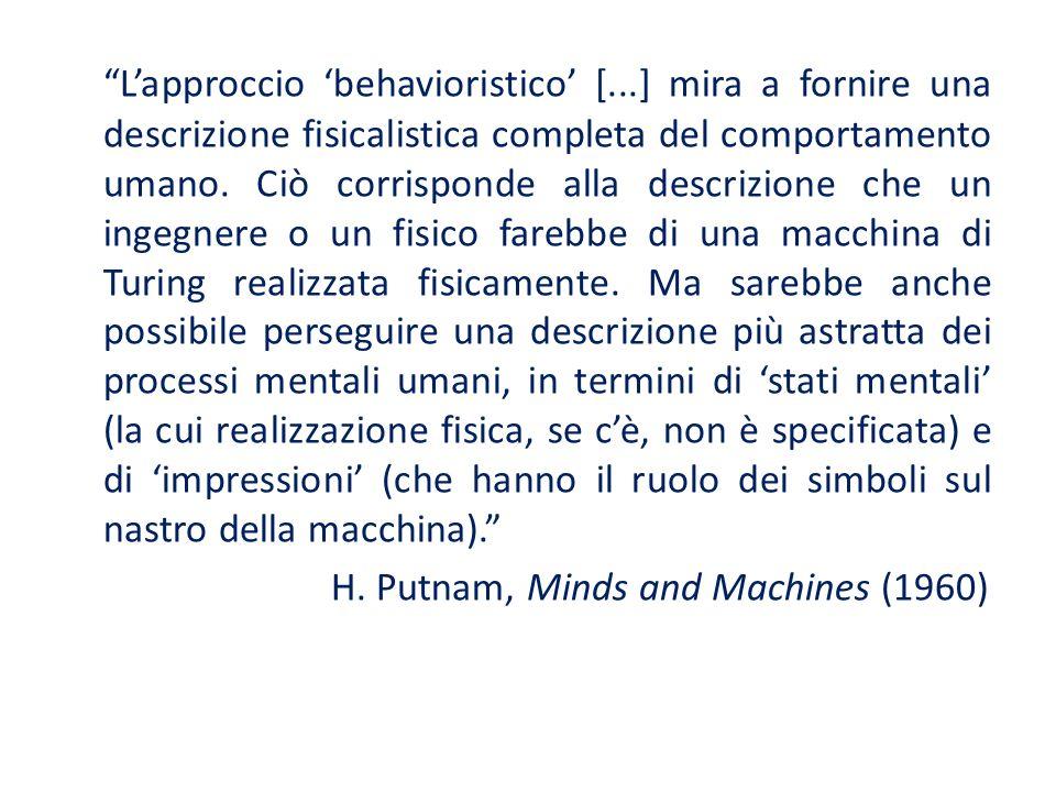 Lapproccio behavioristico [...] mira a fornire una descrizione fisicalistica completa del comportamento umano. Ciò corrisponde alla descrizione che un