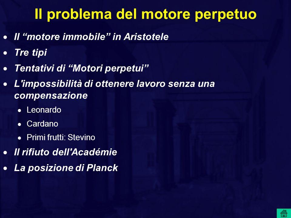 Il problema del motore perpetuo Il motore immobile in Aristotele Tre tipi Tentativi di Motori perpetui L'impossibilità di ottenere lavoro senza una co