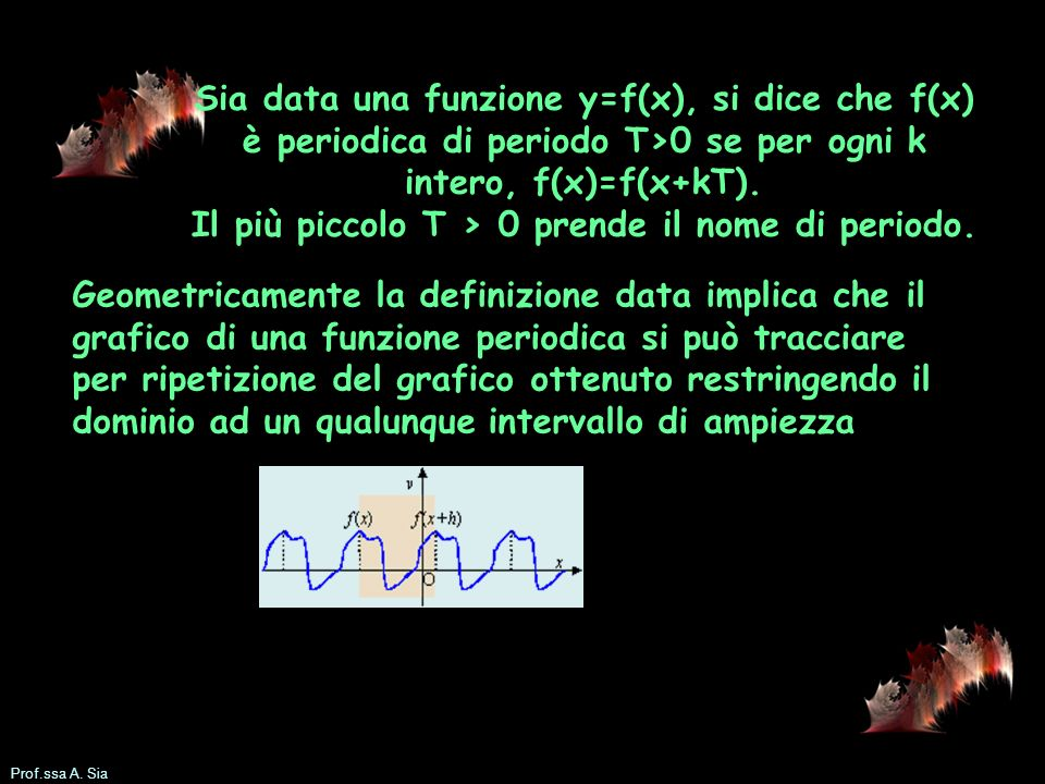Prof.ssa A. Sia Sia data una funzione y=f(x), si dice che f(x) è periodica di periodo T>0 se per ogni k intero, f(x)=f(x+kT). Il più piccolo T > 0 pre
