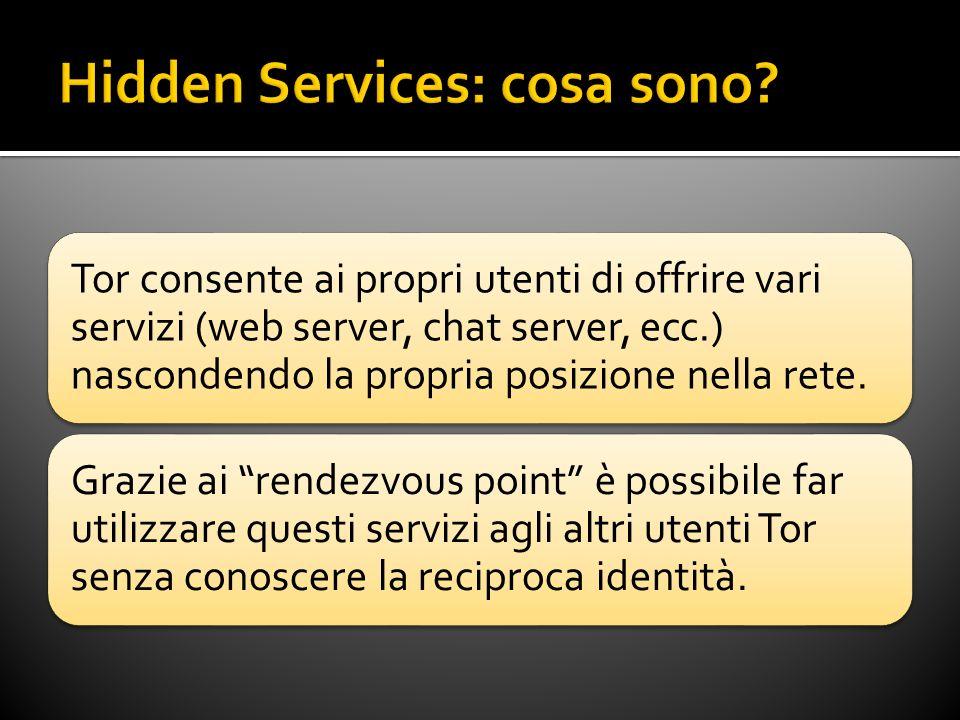 Tor consente ai propri utenti di offrire vari servizi (web server, chat server, ecc.) nascondendo la propria posizione nella rete.