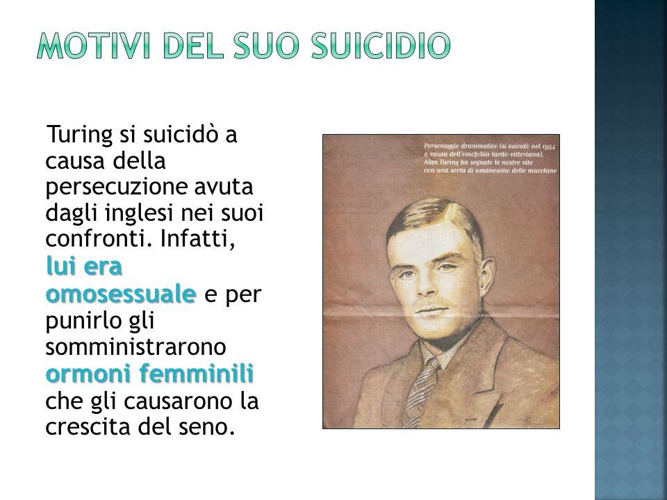 lui era omosessuale ormoni femminili Turing si suicidò a causa della persecuzione avuta dagli inglesi nei suoi confronti.