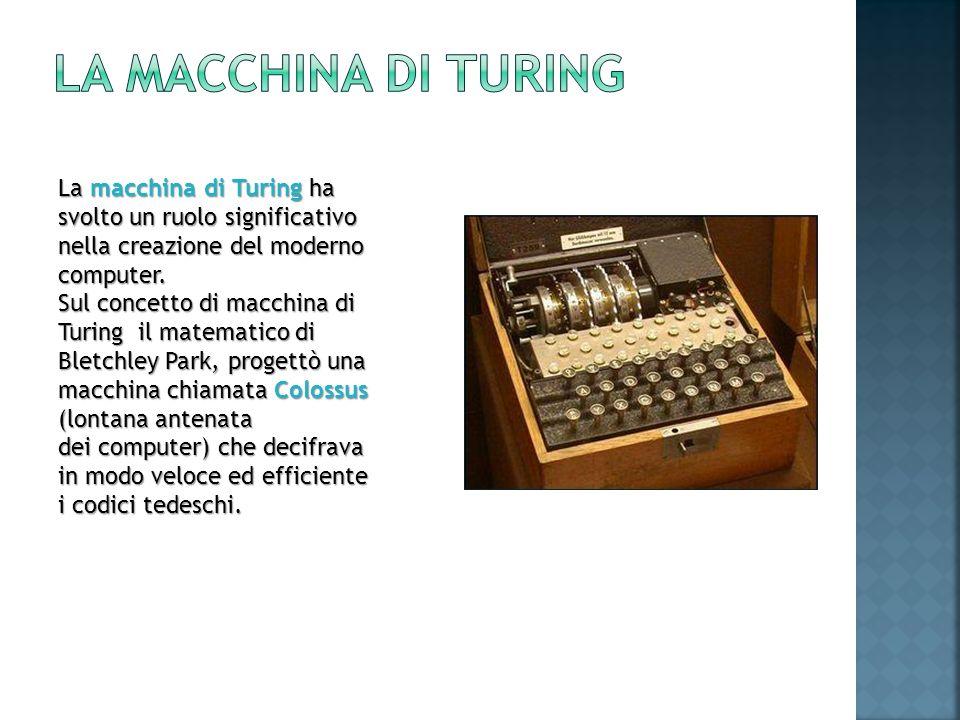 La macchina di Turing ha svolto un ruolo significativo nella creazione del moderno computer. Sul concetto di macchina di Turing il matematico di Bletc