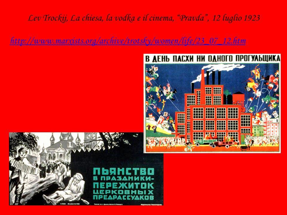 Lev Trockij, La chiesa, la vodka e il cinema, Pravda, 12 luglio 1923 http://www.marxists.org/archive/trotsky/women/life/23_07_12.htm