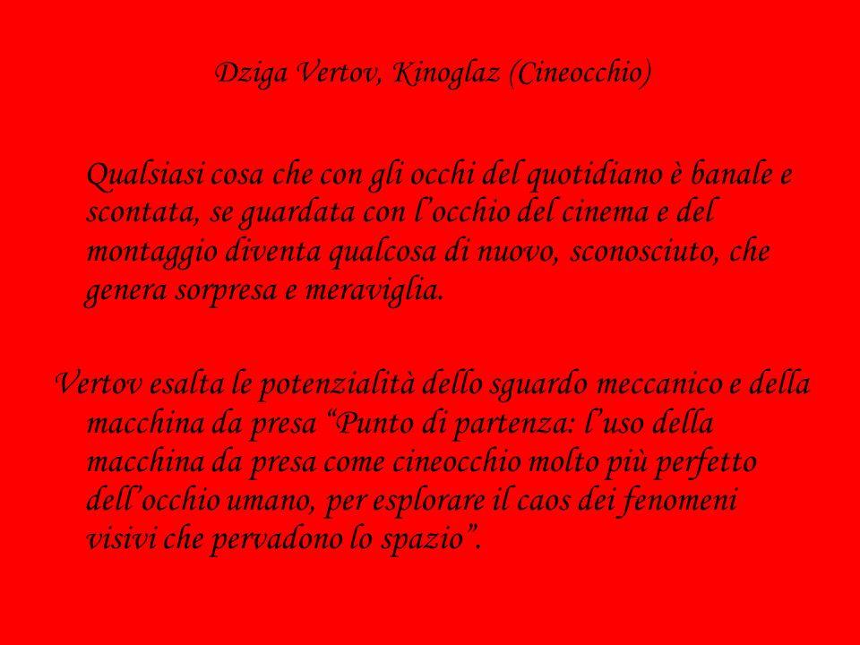 Dziga Vertov, Kinoglaz (Cineocchio) Qualsiasi cosa che con gli occhi del quotidiano è banale e scontata, se guardata con locchio del cinema e del mont