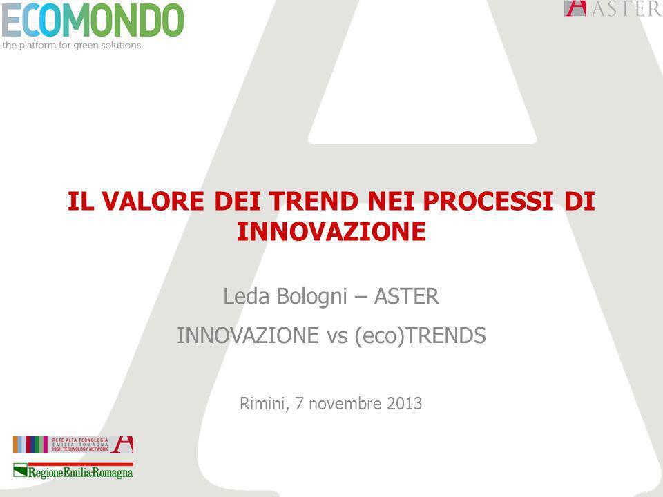 IL VALORE DEI TREND NEI PROCESSI DI INNOVAZIONE Leda Bologni – ASTER INNOVAZIONE vs (eco)TRENDS Rimini, 7 novembre 2013