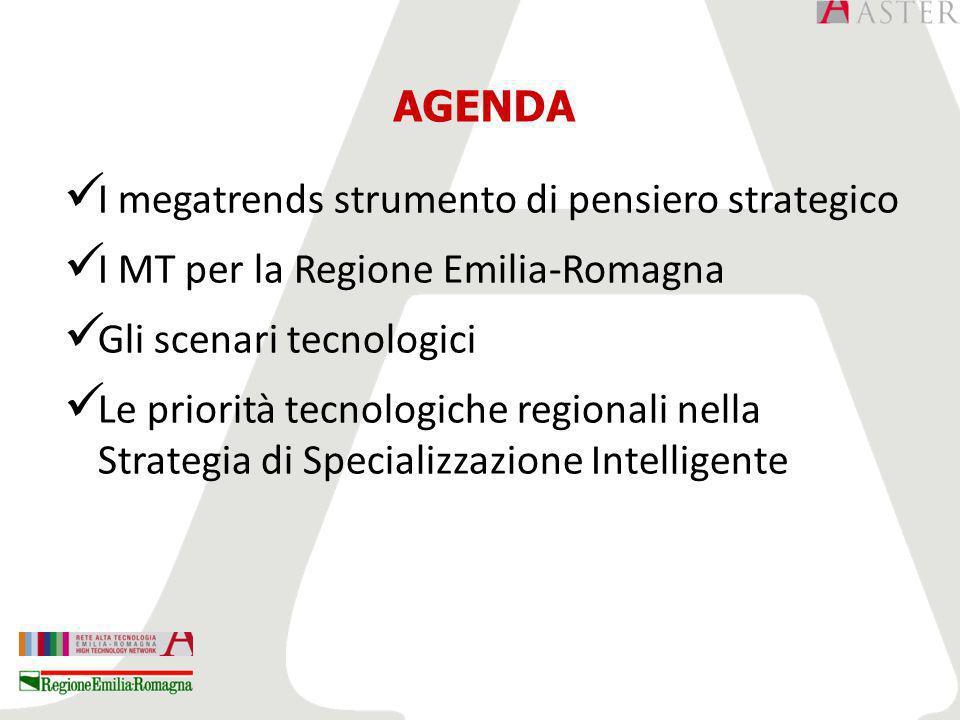 AGENDA I megatrends strumento di pensiero strategico I MT per la Regione Emilia-Romagna Gli scenari tecnologici Le priorità tecnologiche regionali nella Strategia di Specializzazione Intelligente