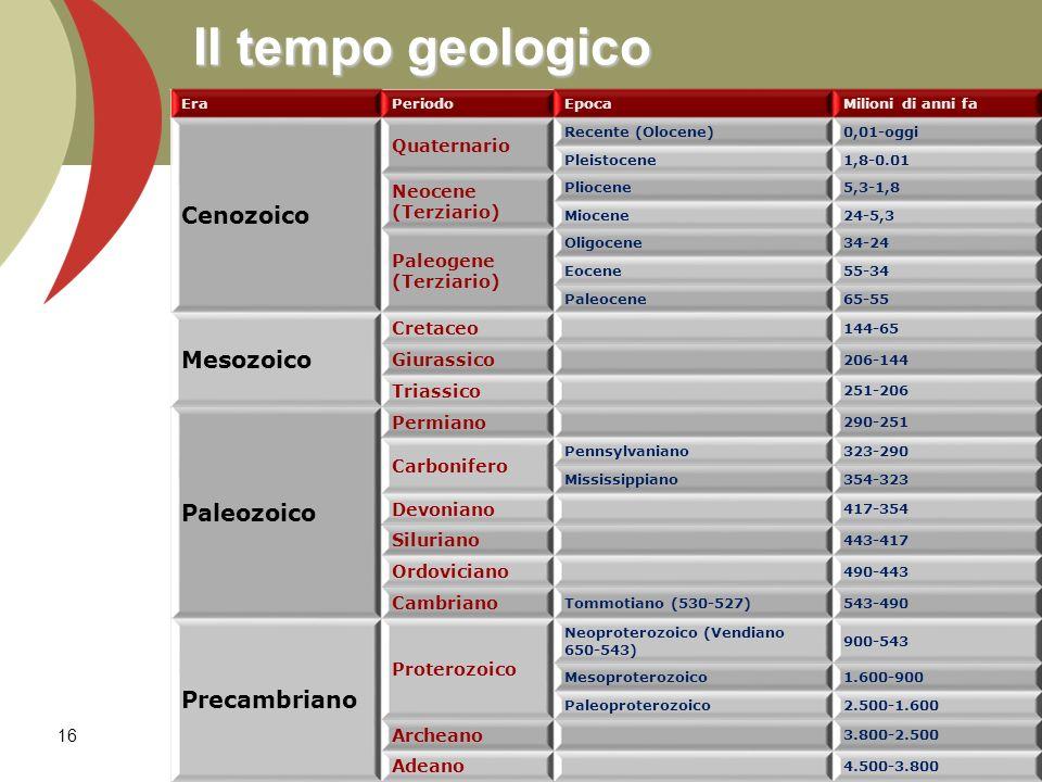 Il tempo geologico EraPeriodoEpocaMilioni di anni fa Cenozoico Quaternario Recente (Olocene)0,01-oggi Pleistocene1,8-0.01 Neocene (Terziario) Pliocene5,3-1,8 Miocene24-5,3 Paleogene (Terziario) Oligocene34-24 Eocene55-34 Paleocene65-55 Mesozoico Cretaceo 144-65 Giurassico 206-144 Triassico 251-206 Paleozoico Permiano 290-251 Carbonifero Pennsylvaniano323-290 Mississippiano354-323 Devoniano 417-354 Siluriano 443-417 Ordoviciano 490-443 Cambriano Tommotiano (530-527)543-490 Precambriano Proterozoico Neoproterozoico (Vendiano 650-543) 900-543 Mesoproterozoico1.600-900 Paleoproterozoico2.500-1.600 Archeano 3.800-2.500 Adeano 4.500-3.800 16