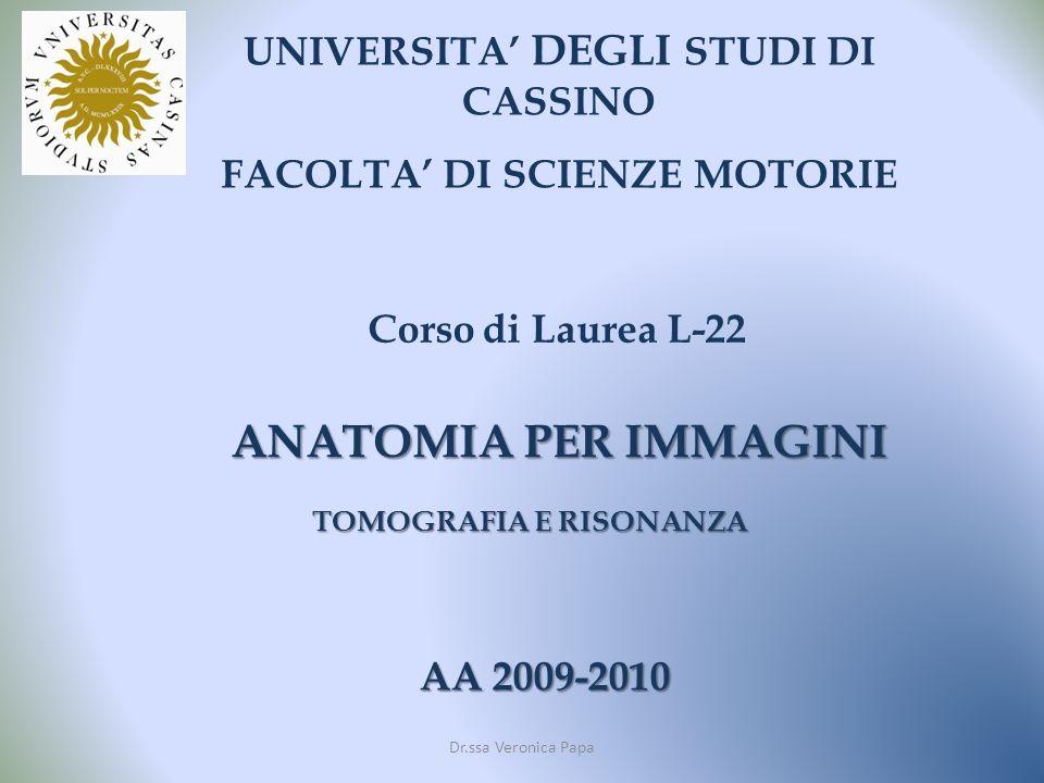 UNIVERSITA DEGLI STUDI DI CASSINO FACOLTA DI SCIENZE MOTORIE Corso di Laurea L-22 AA 2009-2010 ANATOMIA PER IMMAGINI TOMOGRAFIA E RISONANZA Dr.ssa Veronica Papa