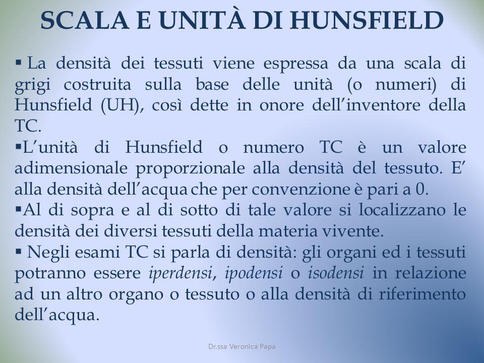 SCALA E UNITÀ DI HUNSFIELD Dr.ssa Veronica Papa La densità dei tessuti viene espressa da una scala di grigi costruita sulla base delle unità (o numeri) di Hunsfield (UH), così dette in onore dellinventore della TC.
