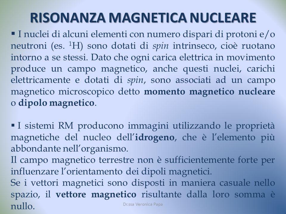 RISONANZA MAGNETICA NUCLEARE Dr.ssa Veronica Papa I nuclei di alcuni elementi con numero dispari di protoni e/o neutroni (es.