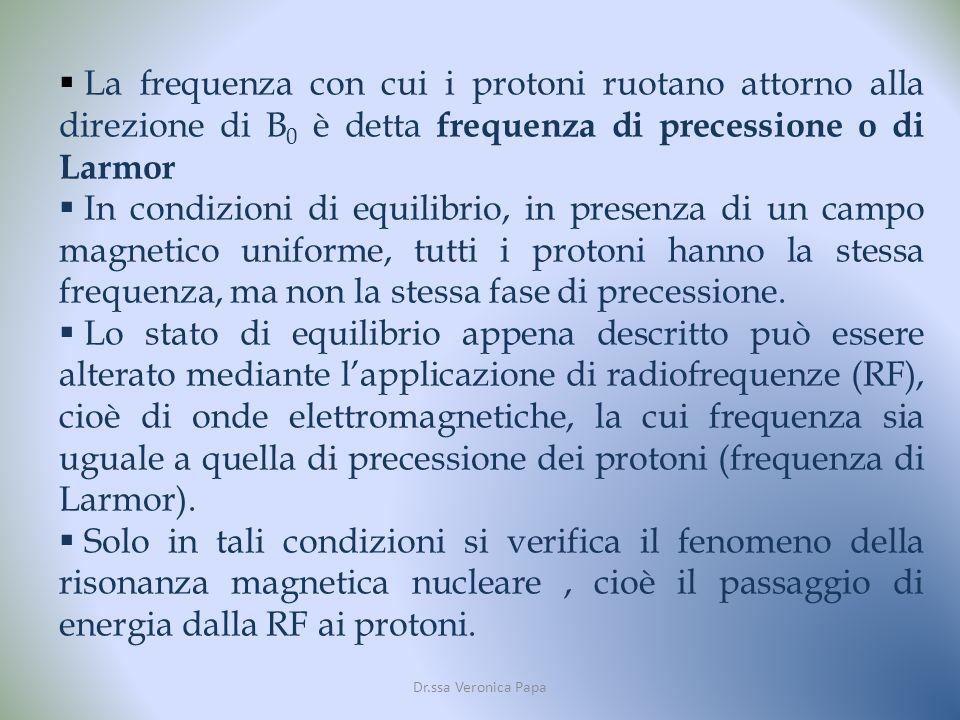 La frequenza con cui i protoni ruotano attorno alla direzione di B 0 è detta frequenza di precessione o di Larmor In condizioni di equilibrio, in presenza di un campo magnetico uniforme, tutti i protoni hanno la stessa frequenza, ma non la stessa fase di precessione.