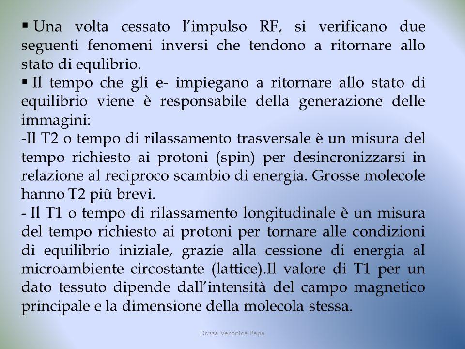 Dr.ssa Veronica Papa Una volta cessato limpulso RF, si verificano due seguenti fenomeni inversi che tendono a ritornare allo stato di equlibrio.