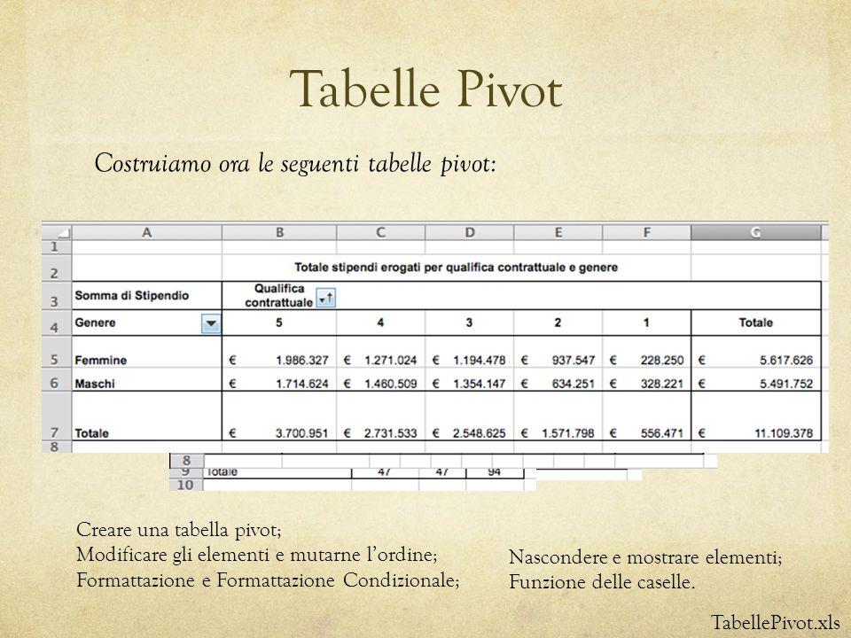 Tabelle Pivot TabellePivot.xls Costruiamo ora le seguenti tabelle pivot: Creare una tabella pivot; Modificare gli elementi e mutarne lordine; Formatta