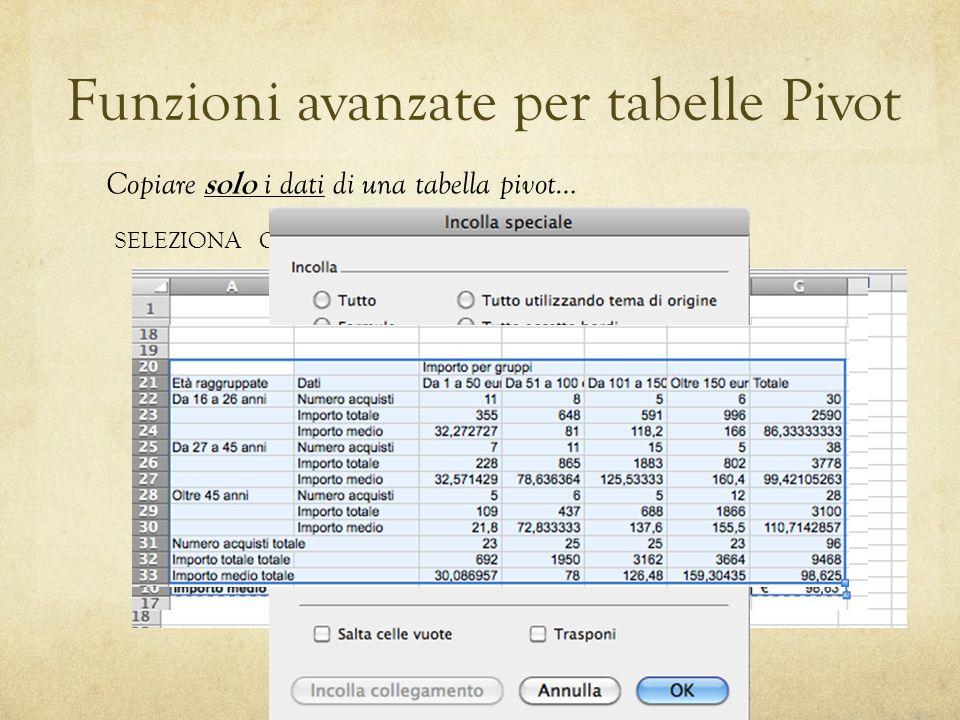 Funzioni avanzate per tabelle Pivot SELEZIONACOPIAINCOLLA SPECIALE Copiare solo i dati di una tabella pivot…