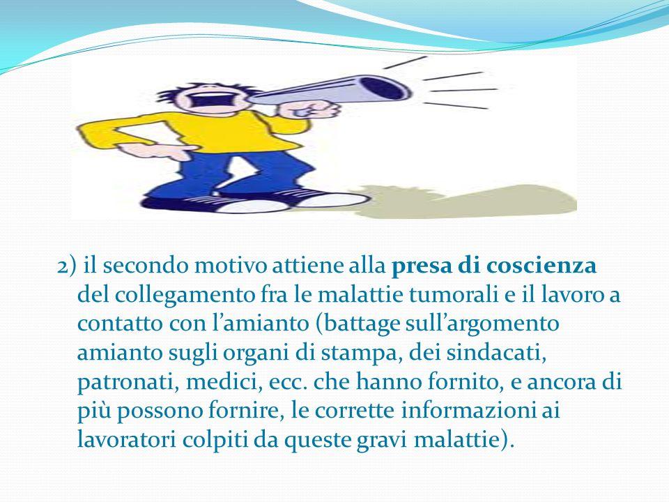 2) il secondo motivo attiene alla presa di coscienza del collegamento fra le malattie tumorali e il lavoro a contatto con lamianto (battage sullargome