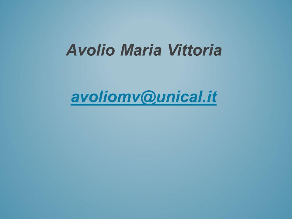 Avolio Maria Vittoria avoliomv@unical.it