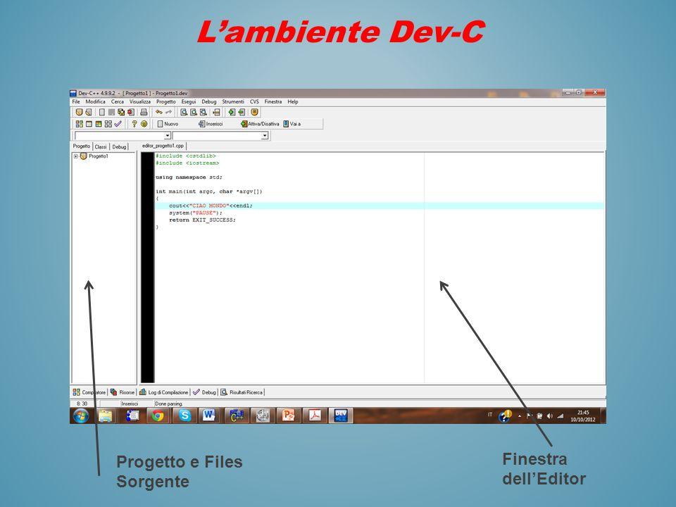 Lambiente Dev-C Finestra dellEditor Progetto e Files Sorgente