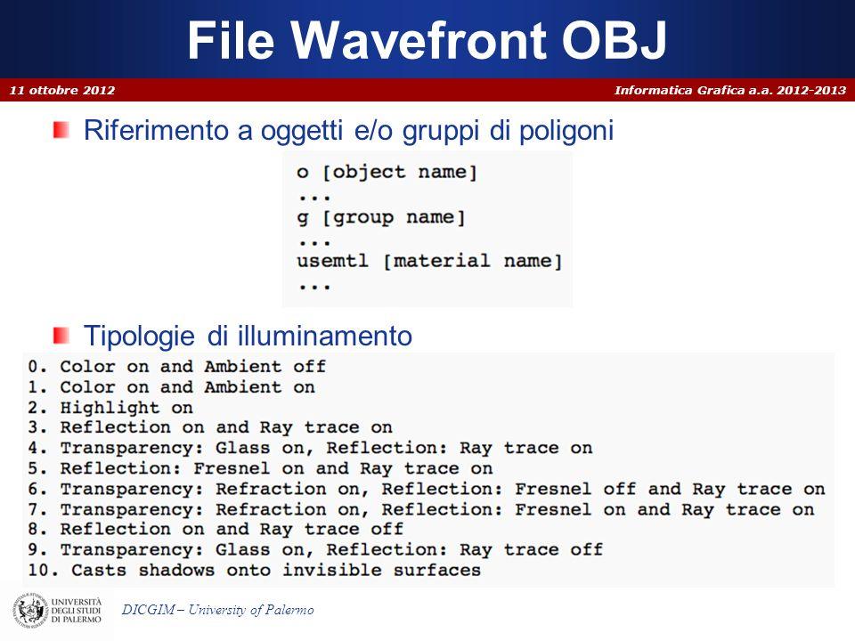 Informatica Grafica a.a. 2012-2013 DICGIM – University of Palermo File Wavefront OBJ Riferimento a oggetti e/o gruppi di poligoni Tipologie di illumin
