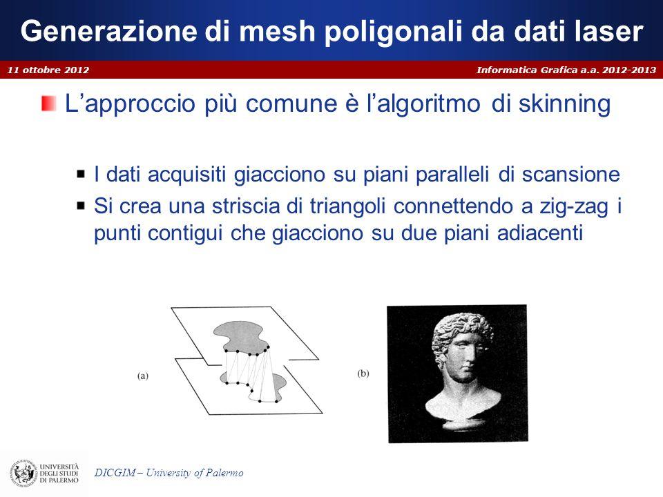 Informatica Grafica a.a. 2012-2013 DICGIM – University of Palermo Generazione di mesh poligonali da dati laser Lapproccio più comune è lalgoritmo di s