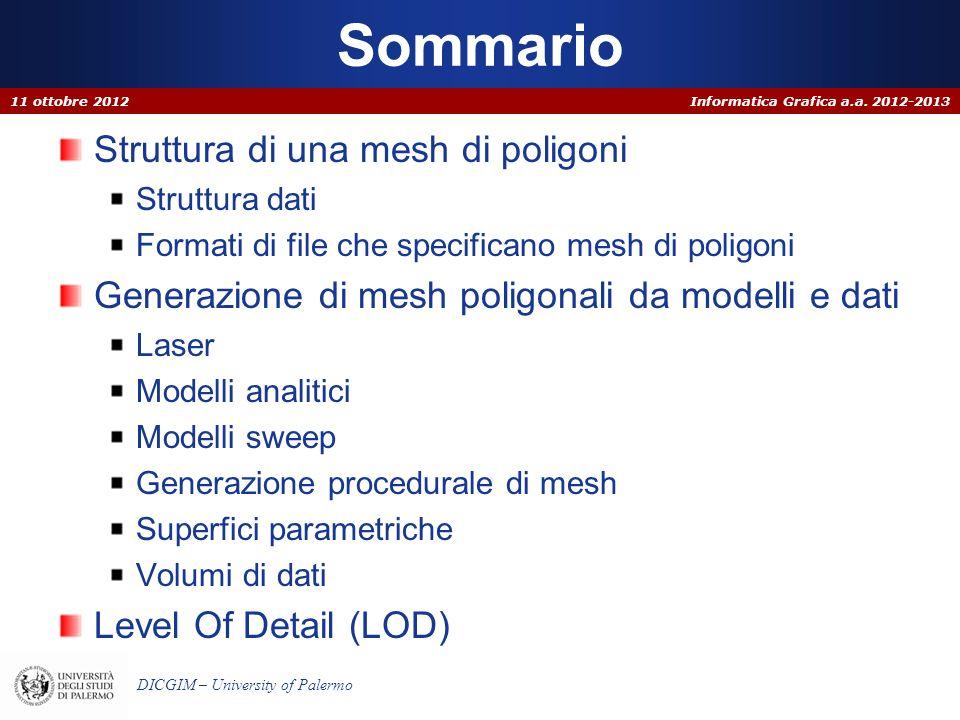 Informatica Grafica a.a. 2012-2013 DICGIM – University of Palermo Sommario Struttura di una mesh di poligoni Struttura dati Formati di file che specif