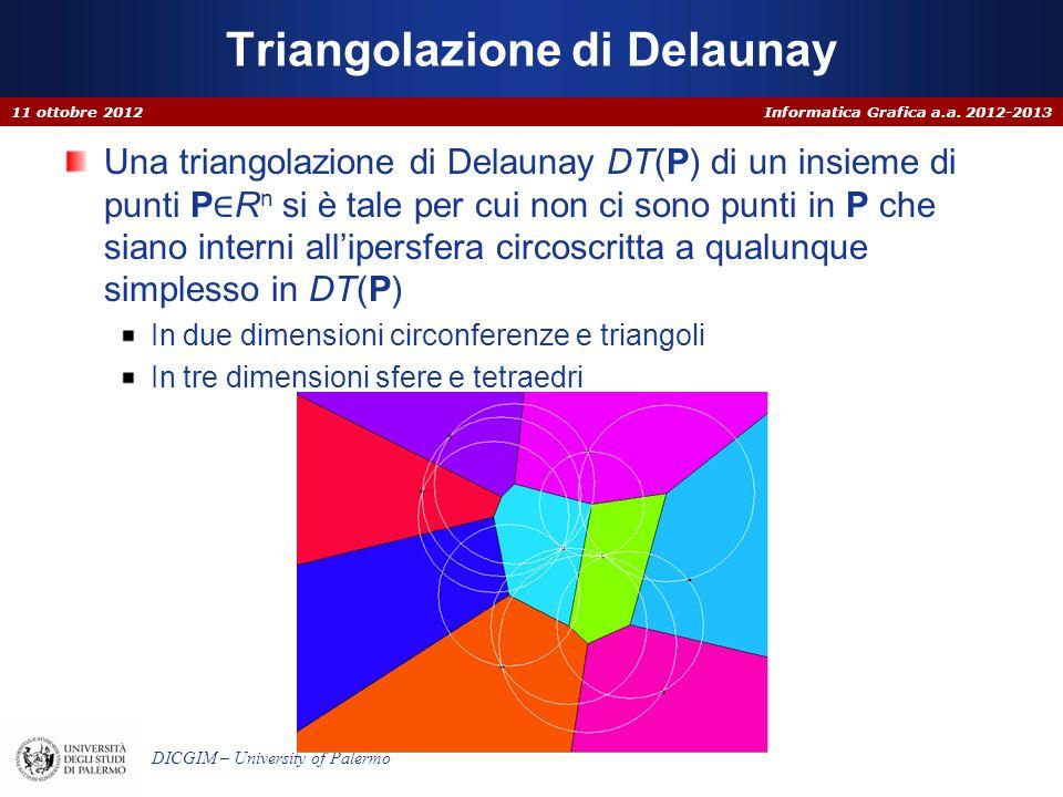 Informatica Grafica a.a. 2012-2013 DICGIM – University of Palermo Triangolazione di Delaunay Una triangolazione di Delaunay DT(P) di un insieme di pun