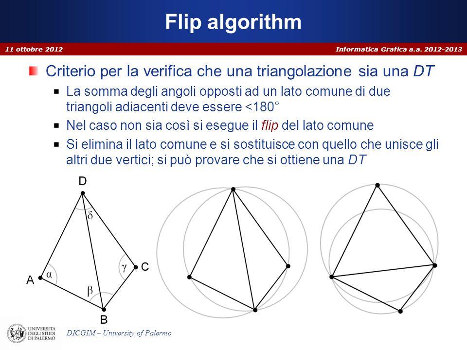 Informatica Grafica a.a. 2012-2013 DICGIM – University of Palermo Flip algorithm Criterio per la verifica che una triangolazione sia una DT La somma d