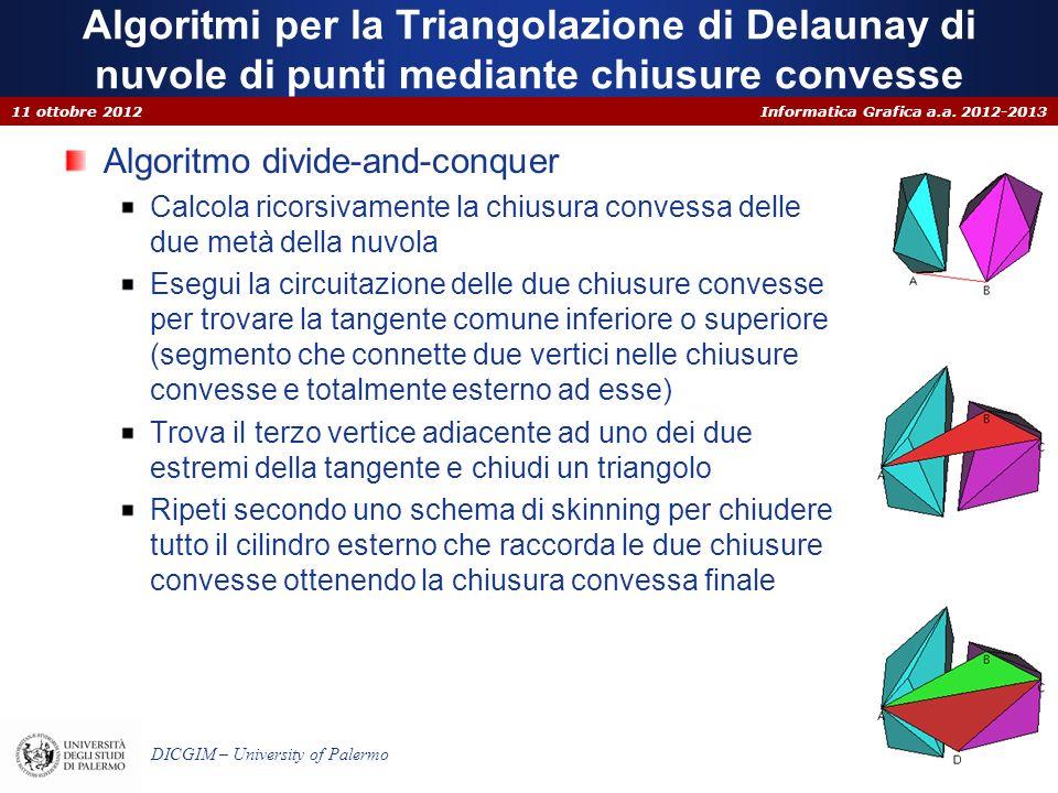 Informatica Grafica a.a. 2012-2013 DICGIM – University of Palermo Algoritmi per la Triangolazione di Delaunay di nuvole di punti mediante chiusure con
