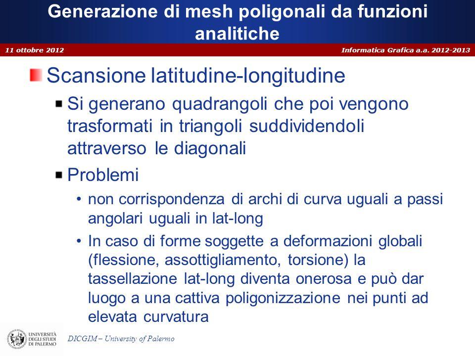 Informatica Grafica a.a. 2012-2013 DICGIM – University of Palermo Generazione di mesh poligonali da funzioni analitiche Scansione latitudine-longitudi