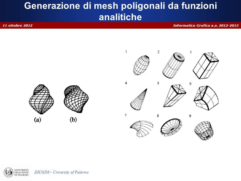 Informatica Grafica a.a. 2012-2013 DICGIM – University of Palermo Generazione di mesh poligonali da funzioni analitiche 11 ottobre 2012