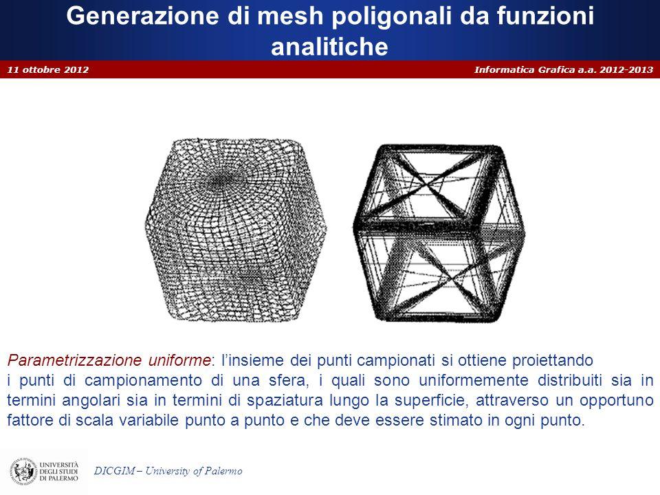 Informatica Grafica a.a. 2012-2013 DICGIM – University of Palermo Generazione di mesh poligonali da funzioni analitiche 11 ottobre 2012 Parametrizzazi