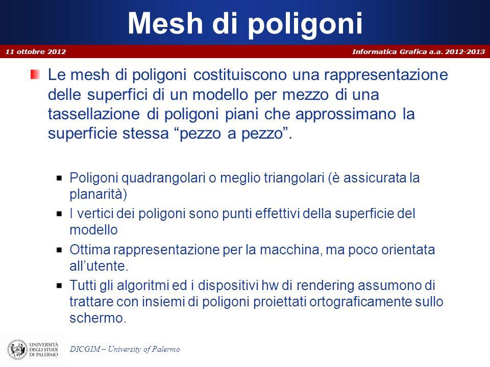 Informatica Grafica a.a. 2012-2013 DICGIM – University of Palermo Mesh di poligoni Le mesh di poligoni costituiscono una rappresentazione delle superf