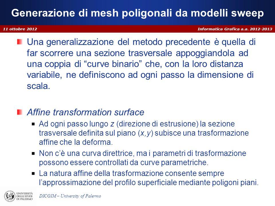Informatica Grafica a.a. 2012-2013 DICGIM – University of Palermo Generazione di mesh poligonali da modelli sweep Una generalizzazione del metodo prec