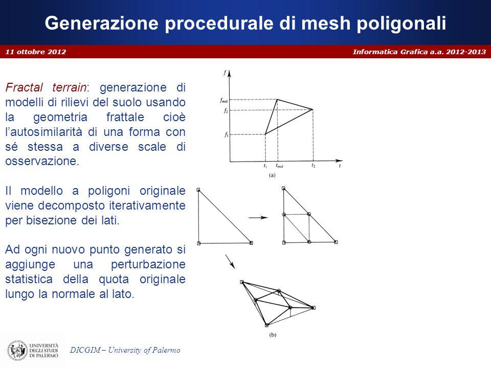 Informatica Grafica a.a. 2012-2013 DICGIM – University of Palermo Generazione procedurale di mesh poligonali 11 ottobre 2012 Fractal terrain: generazi