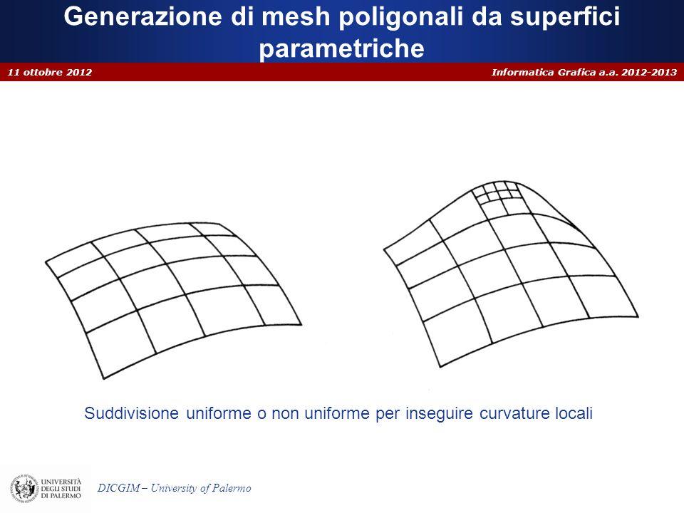 Informatica Grafica a.a. 2012-2013 DICGIM – University of Palermo Generazione di mesh poligonali da superfici parametriche 11 ottobre 2012 Suddivision